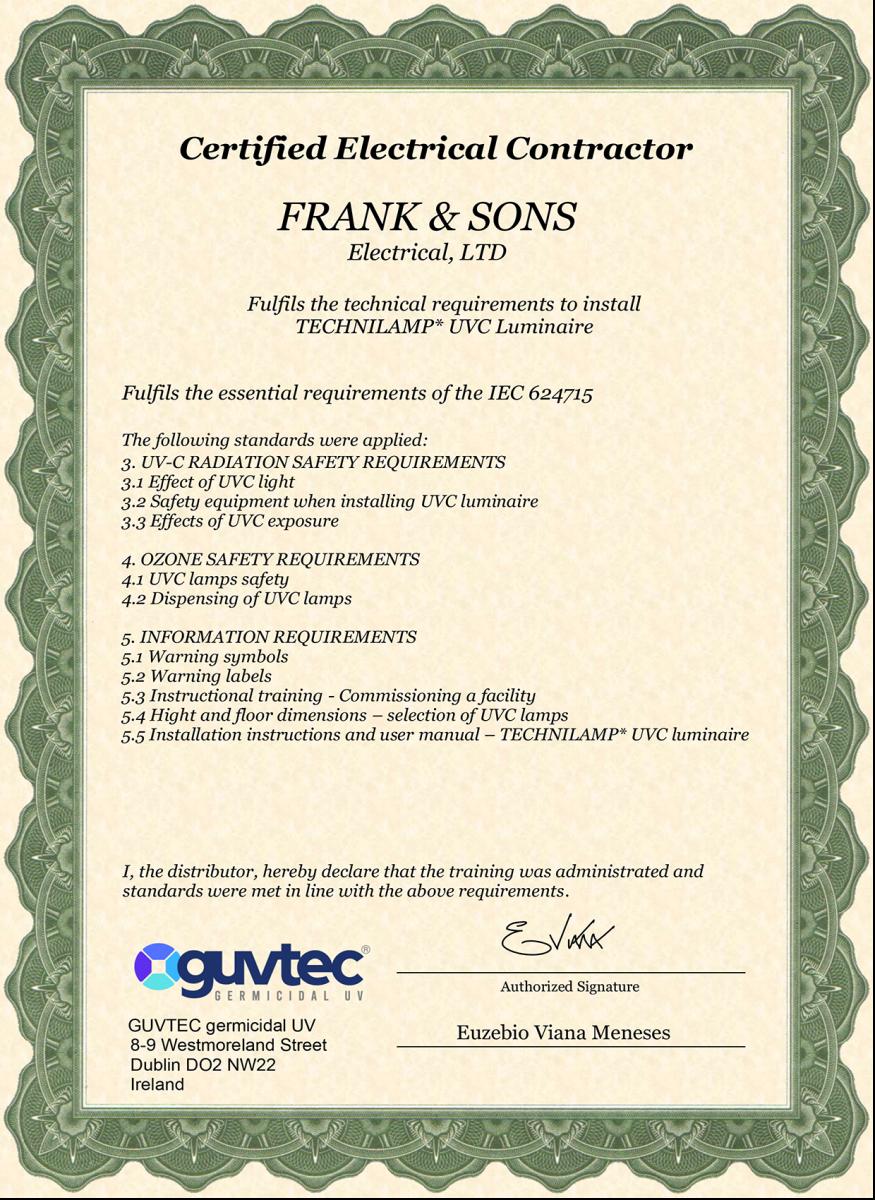 Frank & sons electrical Ltd Guvtec-certifcate-Frank-_-Sons-copy Guvtec, Germicidal UV-C lighting