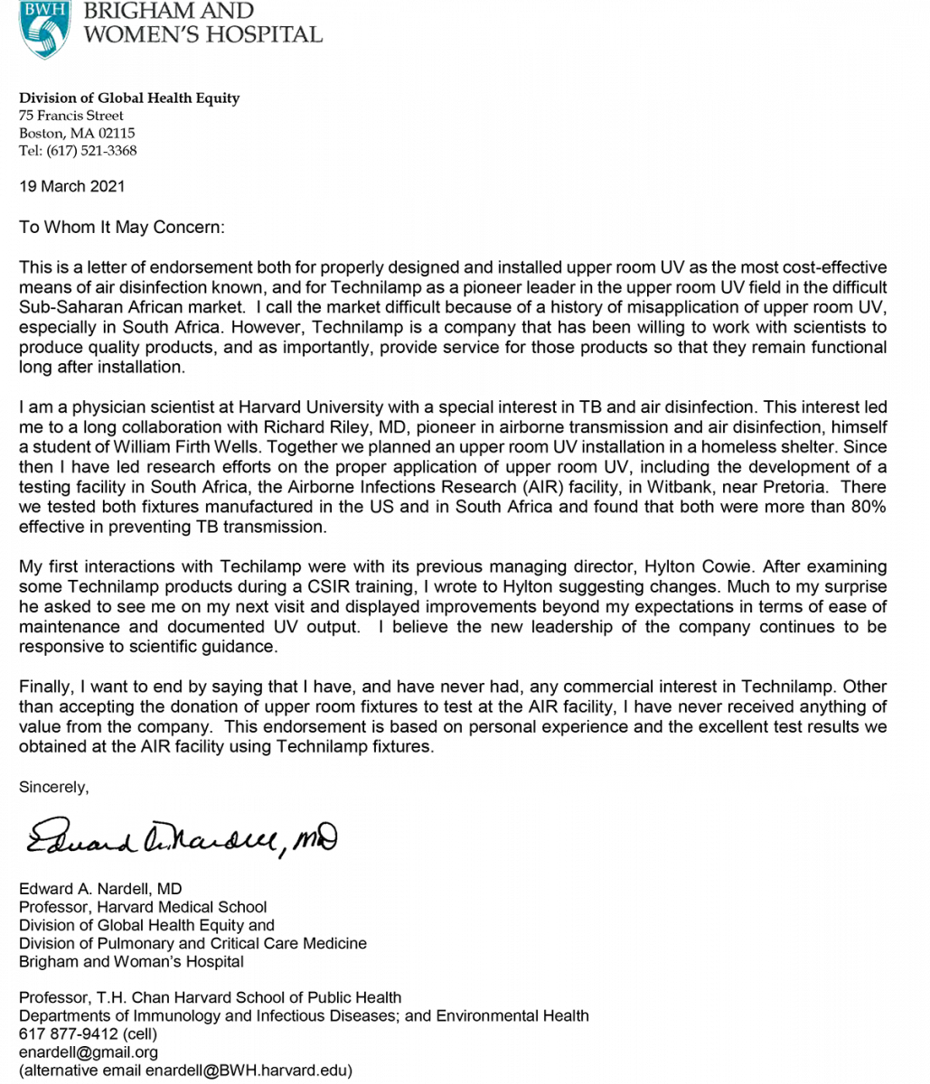 Frank & sons electrical Ltd Harvard-University-Letter Guvtec, Germicidal UV-C lighting